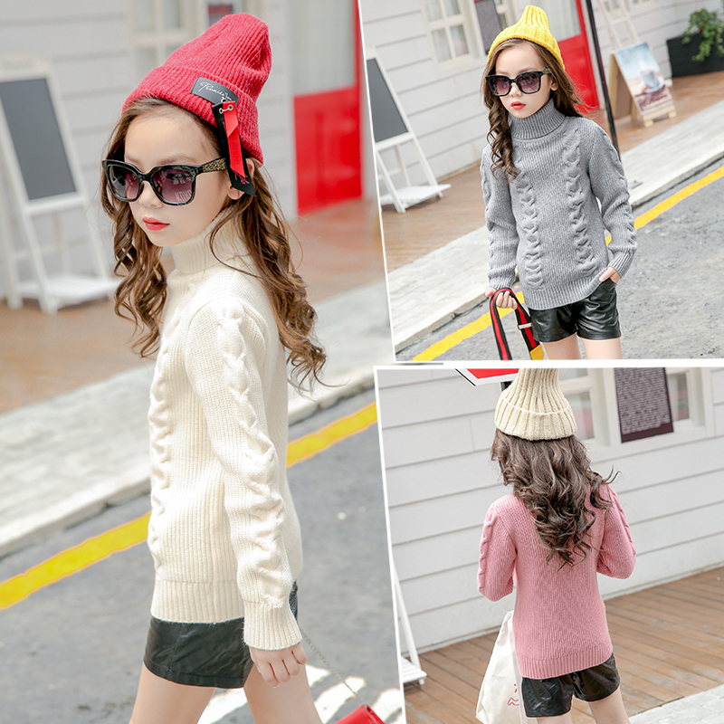 New 2018 Children's Sweater Girls Cardigan Kids Turtle Neck Sweaters Black Pink Red White Gray Baby Girls Turtleneck Tops turtle neck vertical knitting stretchy sweater