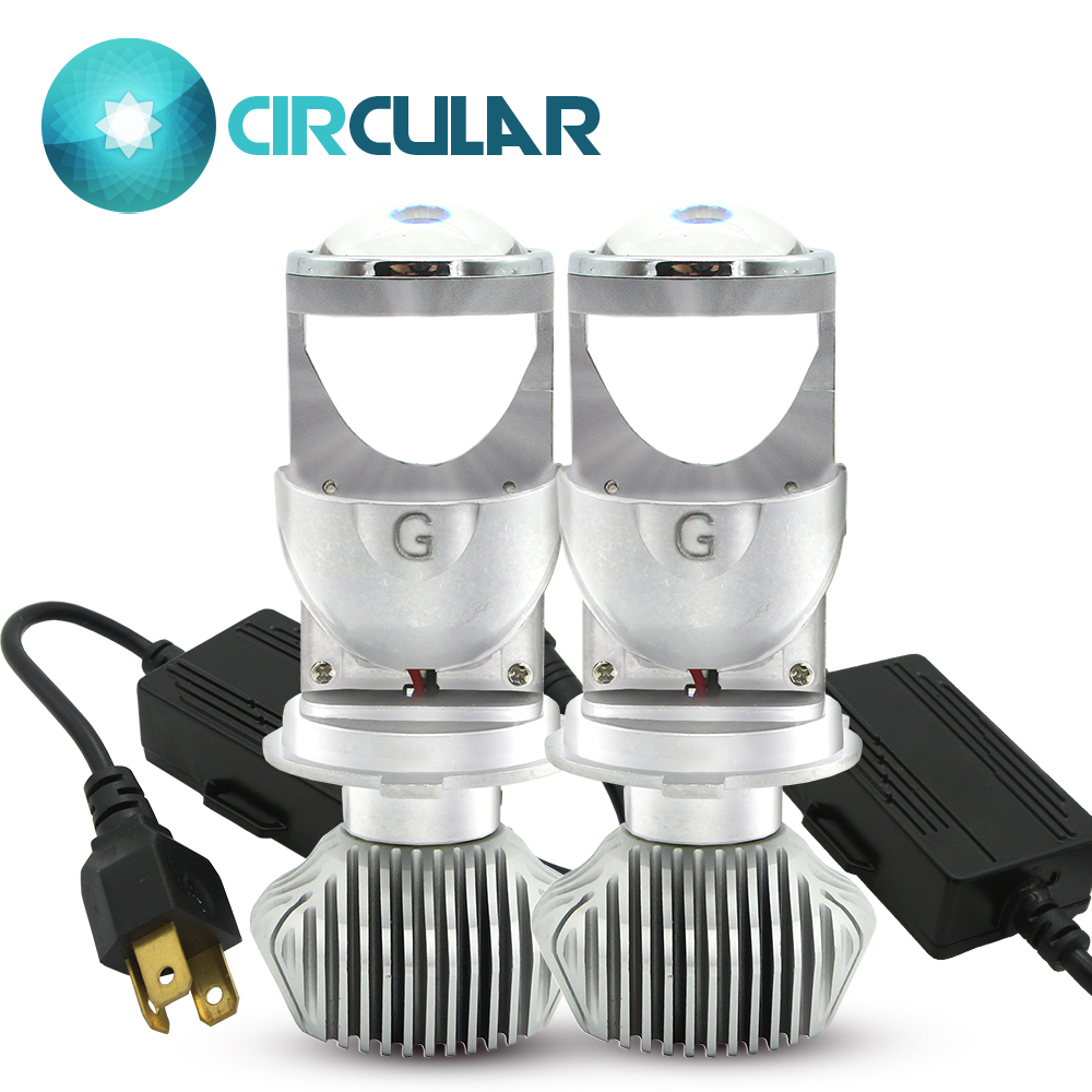 80W Pair Lamp H4 LED Mini Projector Lens Automobles LED Bulb LED Conversion Kit Hi Lo