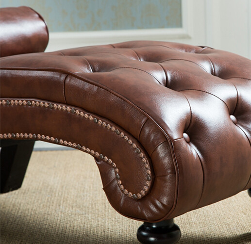 Classic Leather Chaise Lounge Sofa With Pillow Living Room Furniture Modern  Lazy Lounger Chair For Bedroom Sleep Lounge Wood Leg
