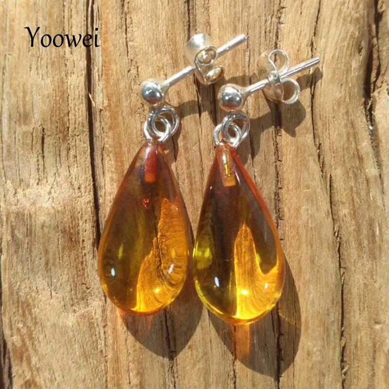 Yoowei femmes boucles d'oreilles en ambre pour cadeau de fête Original pierre goutte boucles d'oreilles naturel baltique véritable ambre bijoux en gros