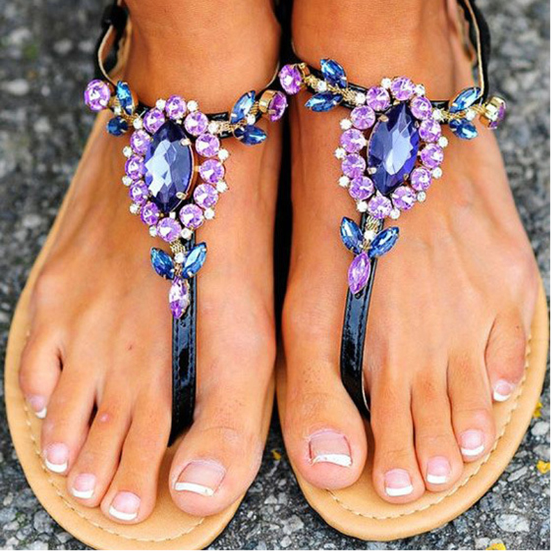 2017 Comfort Sandals Women Summer Fashion Purple Rhinestone Women's shoes Flat Heel Flip-flop Plus size 43 zapatos mujer