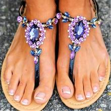 2017 komfort Sandalen Frauen Sommer Mode Lila Strass damenschuhe Flache Ferse Flip-flop Plus größe 43 zapatos mujer