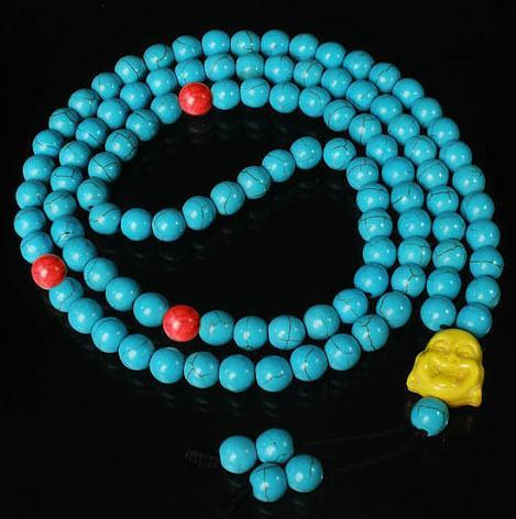 Tibet Red Baby Blue Turquoise Stone 10MM 108 Beads Yellow Happy Buddha Beaded Buddhism Prayer Mala Necklace