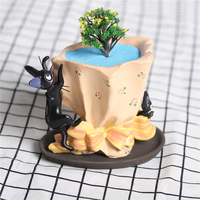 Cartoon Gigi Black Cat And Boutquet Resin Flower Pot Cactus Succulents Plants Flowerpot Container Small Animal Planter With Tray