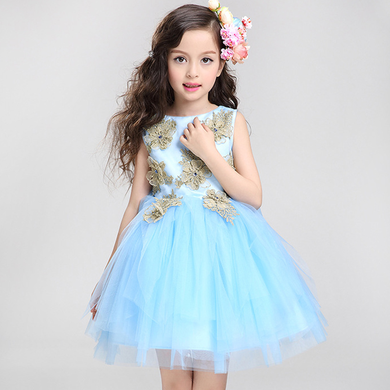 2018 Girl floral Princess party dresses summer children clothing Cotton Lined Embroidered Blue Dresses tutu baby girl clothes
