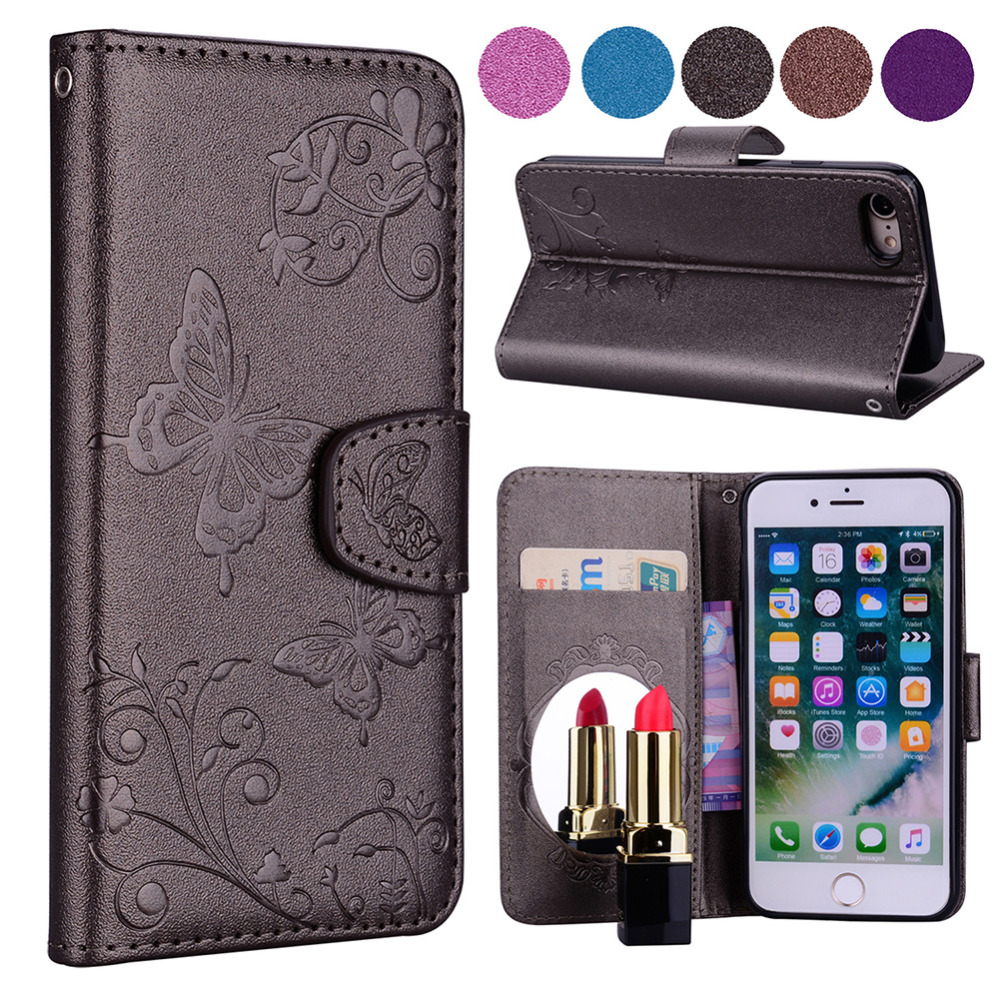 flip case for Apple iPhone 7 / 8 Mirror Case, Pu leather Wallet+Card Slot Cover Makeup Phone Cases