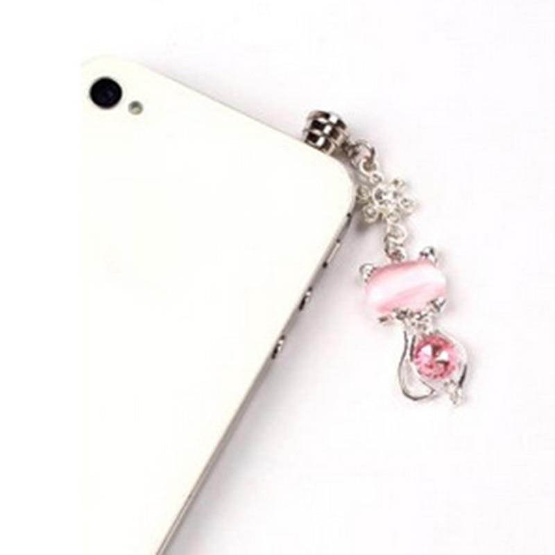 100Pcs Fashion Diamonds Plastic 3.5mm Connector Headphone SmartPhone Dust Plug For Samsung Galaxy s6 edge Dustplug Free Shipping