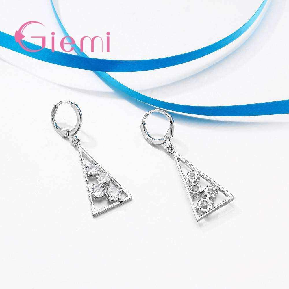 100% 925 Sterling Silber Halskette Anhänger für Frauen Hochzeit Partei Geometrie Zirkonia Hoop Ohrring Sets Liebhaber Mädchen