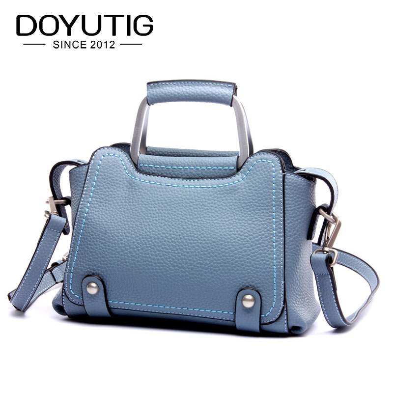 Women's Blue Color Genuine Leather Handbag Fashion Real Cow Leather Big Totes High Quality Female Fashion Shoulder Bags F549