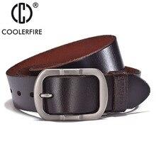 COOLERFIRE Top cow genuine leather men belts newest arrival black and brown hot design jeans belt for male original brand JTC007