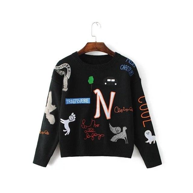 Вышивка вязаный шерстяной Кашемир женщин пуловеры 2017 черный белый зимняя мода леди О-Образным Вырезом свитер сплошной цвет женский трикотаж