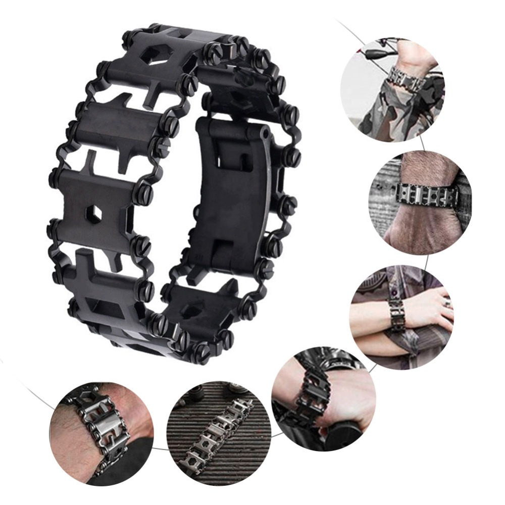 Image 2 - 29 in 1 Multifunctional Tread Bracelet Stainless Steel Outdoor Bolt Driver Kits Travel Friendly Wearable Multitool Hand Tools B2-in Screwdriver from Tools