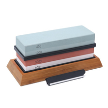 400/1000 3000/8000 Grit Sharpening Stone Double Sided Whetstone Set For Knives With Non-Slip Bamboo Base and Free Angle Guide цена