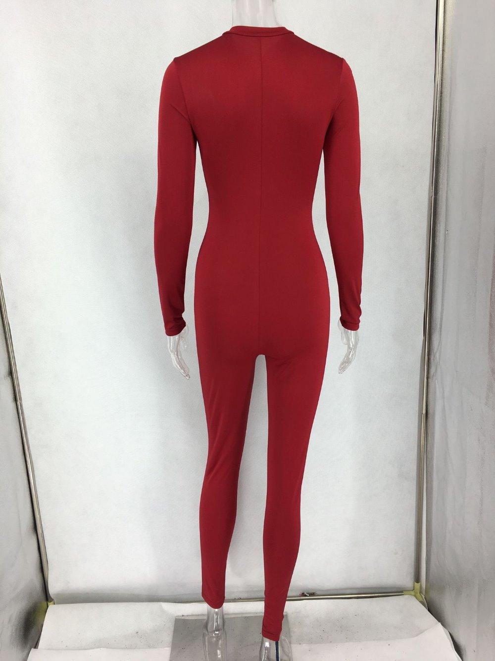 Club Size Jumpsuits Bodycon Big Wine Sexy Women Fashion V Celebrity Red Sleeve Night Jumpsuit neck Party Long zaw6xq5YZ