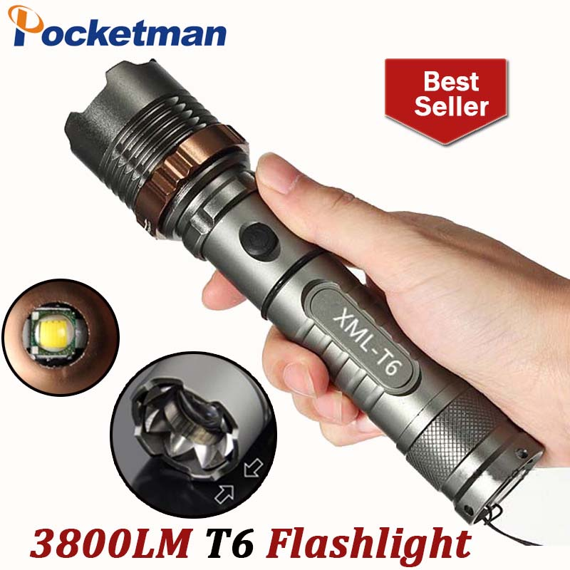 Self Defense LED flashlights Cree XM-L T6 4000LM Rechargeable Torch Lamps powerful Lantern Tactical Emergency bicycle holder