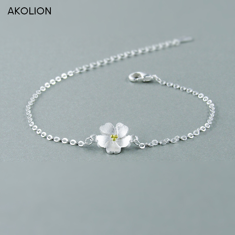 AKOLION Silver Cherry Blossoms Bracelets  925 Charm Flower Bracelets For Girl Women Fashion Jewelry