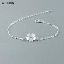 AKOLION Silver Cherry Blossoms Bracelets 925 Charm Flower Bracelets For Girl Women Fashion Jewelry