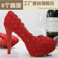Crystal shoes wedding shoes pearl bridal shoes rhinestone lace handmade female wedding red high heeled