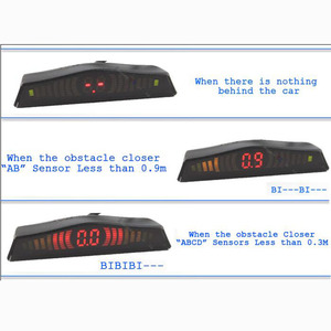Image 4 - Koorinwoo Originele Auto LED Screen Parkeer Sensor Multicolor Set 4 Probes Auto Reverse Radar Parktronic blind Alert Indicator