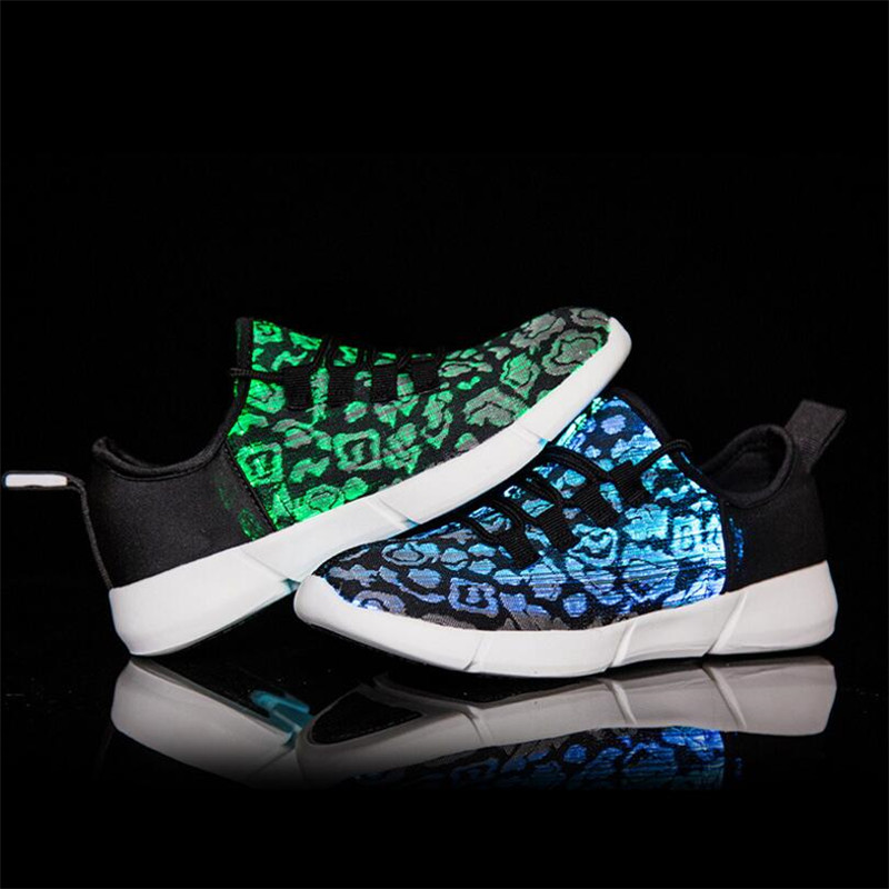 22d351ab33e7 Luminous Fiber Optic Fabric Light Up Shoes LED 11 Colors Flashing White  Adult Girls Boys USB Rechargeable Sneakers with Light-in Sneakers from  Mother   Kids ...
