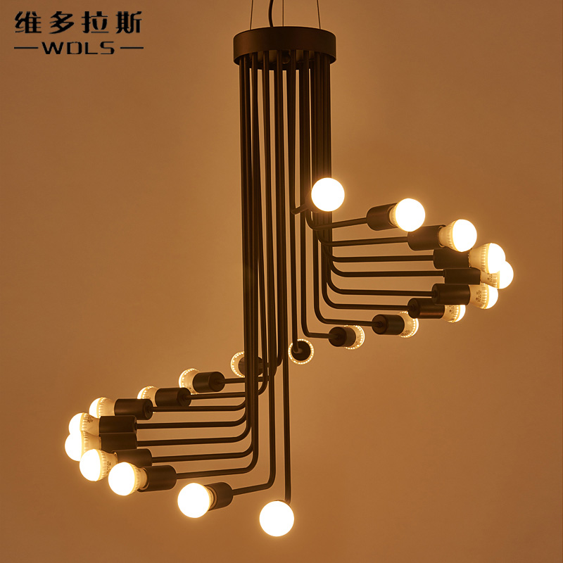 Modern vintage Loft Pendant light Iron Spiral Staircase Lamp Drop light Fixture hanging light antique american pendant lamp