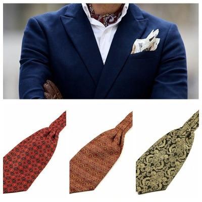 SHENNAIWEI 2017 New Paisley Ascot Cravat Tie Cravat Men Paisley Tie Jacquard Self Tie Wedding Gravata