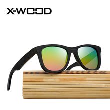 X-WOOD New Fashion Natural Bamboo Frame Sunglasses Men Women High Quality Green Yellow Grandient Lens Sun Glasses Bamboo Box