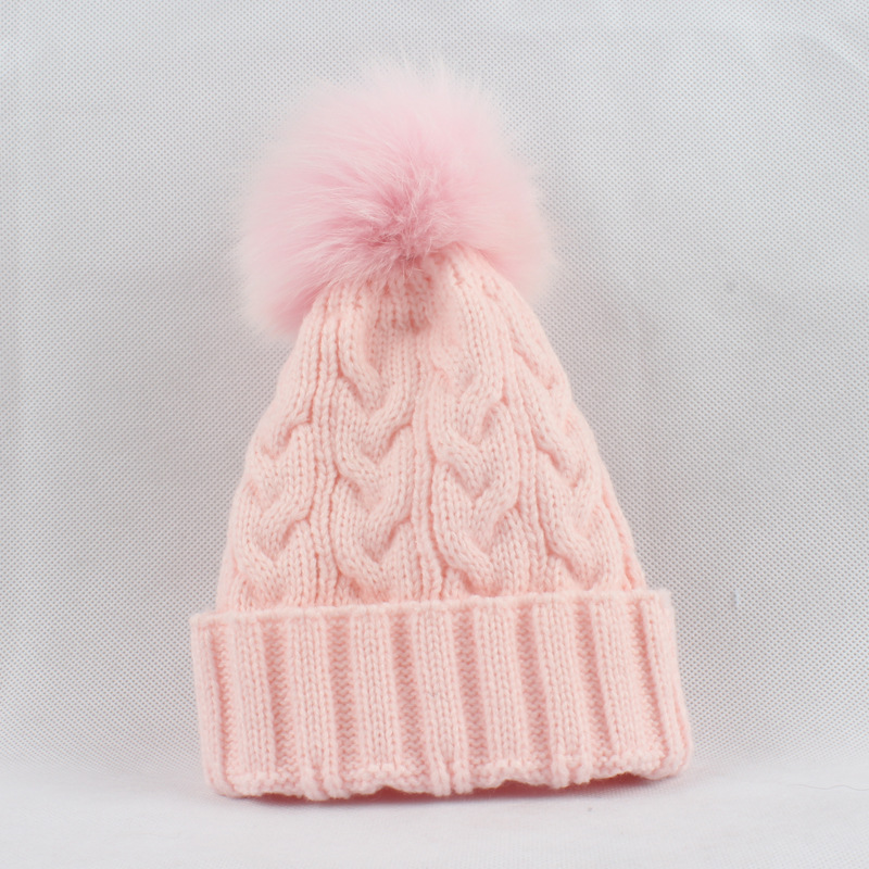 Russian Women's Acrylic Skullies Beanies Hats Fox Fur Pom Pom Hat Female Winter Warm Caps Fashion Headgear LF4061 skullies