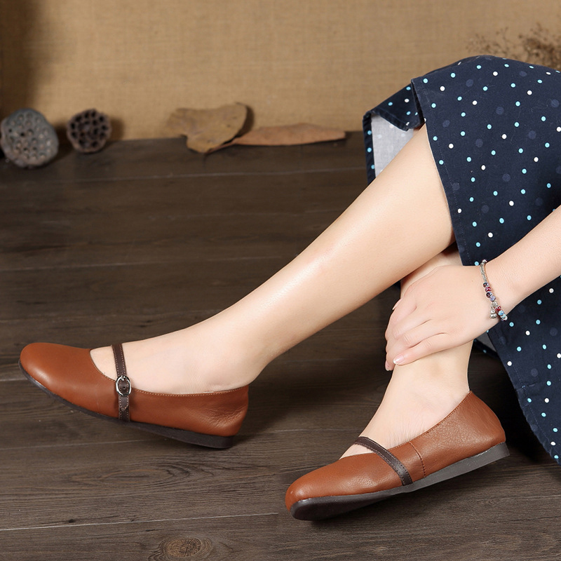 Genuine Leather Mary Janes Women Flats shoes Comfortable soft Round Toe Pregnant Driving Ladies brown Shoes size 35-40 foreada genuine leather shoes women flats round toe lace up oxfords shoes real leather casual boat shoes brown pink size 34 40
