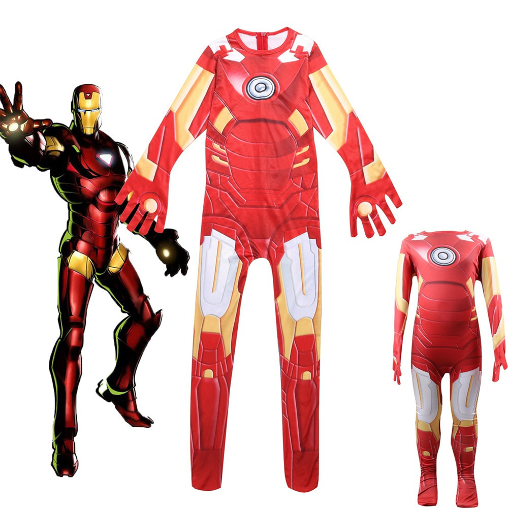 Cosplay Avengers: Infinity War Iron Man Fancy Body suit Kids Carnival Party Halloween Jumpsuit Costumes dress boys/girls