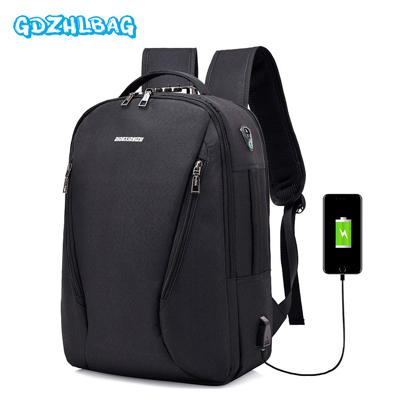 Men Backpack Anti Theft Password Locks Bag Men Bag USB Charging Backpack With Headphone  ...