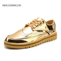 MEIGOUMEIGOU Brand Fashion Men Golden Sneakers 39 46 Big Size Leather Casual Shoes Men Flat Platform Sequin Leather Sneakers Men