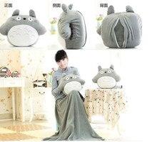 Rond Totoro poupée oreiller 33 * 38 cm, Couverture 95 * 75 cm couverture de bébé mignon jouets en peluche cadeau de noël adultes coussin