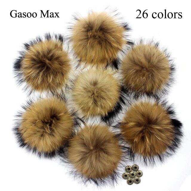 5pcs/lot DIY 13cm 15cm Raccoon Fur Pompoms for Knitted Winter Hat Cap Real Fox Pom Poms For Beanies Scarves Real fur Pompons