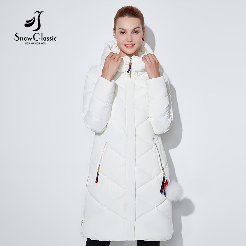 SnowClassic women winter jacket Thin short parka Hood coats luxury outerwear Argyle jacket female Preppy Style winter coats 2018