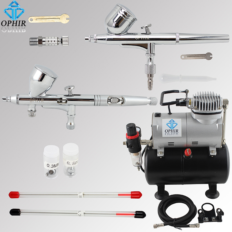 OPHIR Pro Dual Action Airbrush Kit with Air Tank Compressor Air Brush Spray Gun for Nail Art Body Paint Model_AC090+004A+070