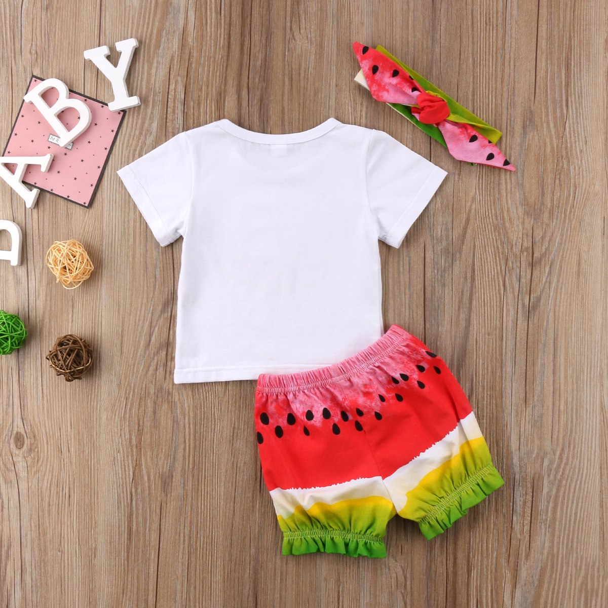 7c152a9a8556 3pcs Kids Baby Girl Watermelon Fruits Outfit Headband T shirts Shorts Pants  Clothes Set 2018 Summer Short Sleeve Cotton Clothing-in Clothing Sets from  ...