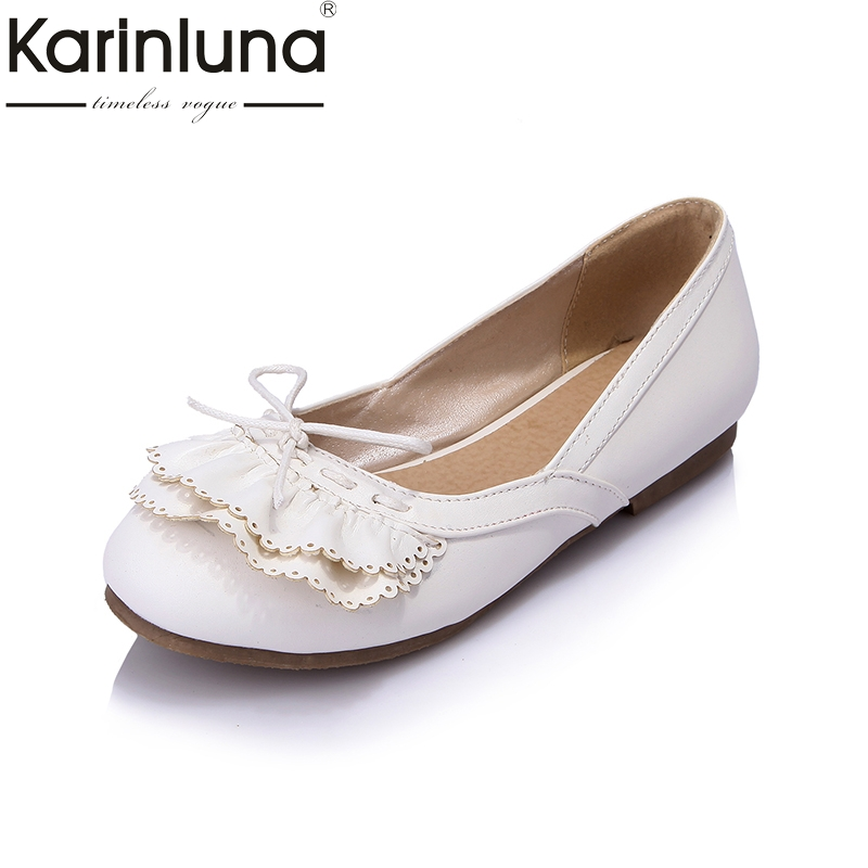 KarinLuna New Bowtie Large Size 30-43 Summer Sweet Fashion Women Flats Shoes Woman Slip On Women Beathable Casual Shoes new 2017 spring summer women shoes pointed toe high quality brand fashion womens flats ladies plus size 41 sweet flock t179