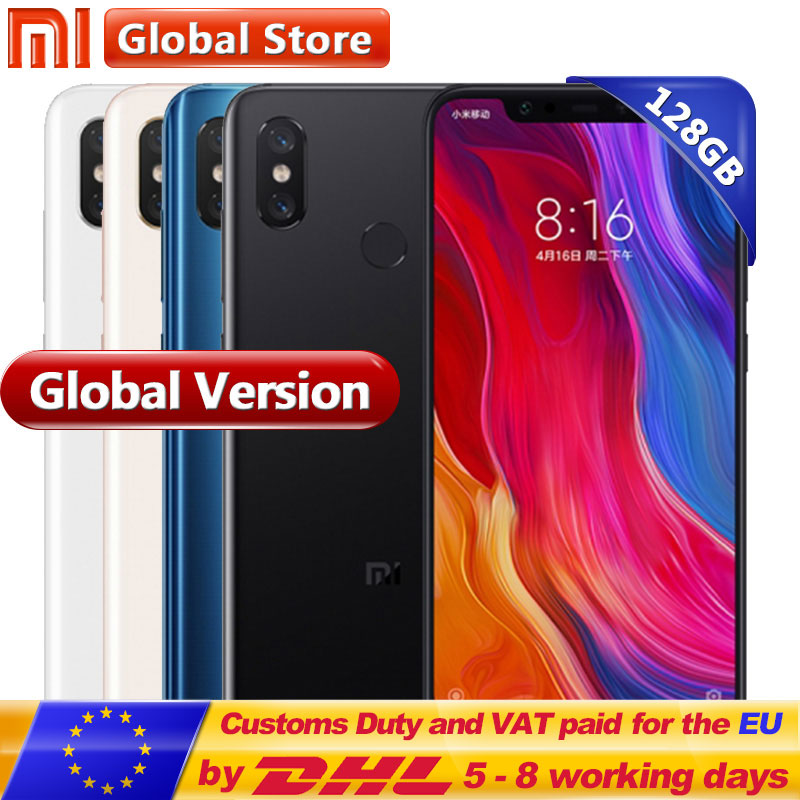 Globale Versione Xiao mi mi 8 6 gb 128 gb del telefono Mobile 6.21 ''display amoled Snapdragon 845 Octa core dual Band Doppia Fotocamera GPS