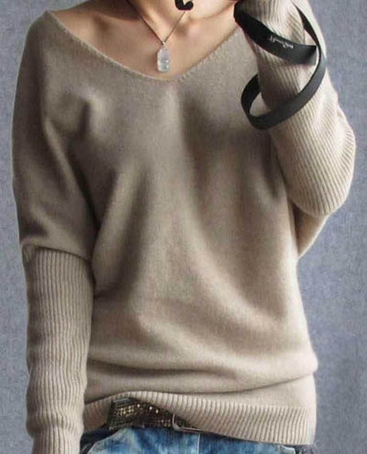 春秋カシミヤ女性のファッションセクシーなvネックプルオーバールーズ 100% ウールバットウィングスリーブプラスサイズニットトップス