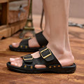 Casual famous brand new2016men sandals shoes slippers summer flip flops Beach Men Shoes Outdoor Leather Sandalias Zapatos hombre