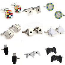 Magic Cube Cards Dice Game Handle USB Cufflink Cuff Link 1 Pair Big Promotion cheap Tie Clips Cufflinks Fashion Classic Cuff Links Simulated-pearl Stone TZG104 Various Stainless Steel