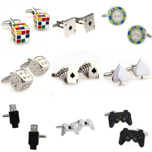 Magic Cube Cards Dice Game Handle USB Cufflink Cuff Link 1 Pair Big Promotion(China)