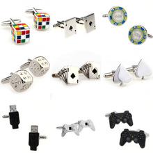 Magic Cube karty Dice Game uchwyt USB cufflink mankiet Link 1 pair Big promocja tanie tanio Tie Clips Cufflinks Moda Klasyczny Cuff Links Simulated-pearl Stone Mężczyzn TZG104 Various Stal nierdzewna