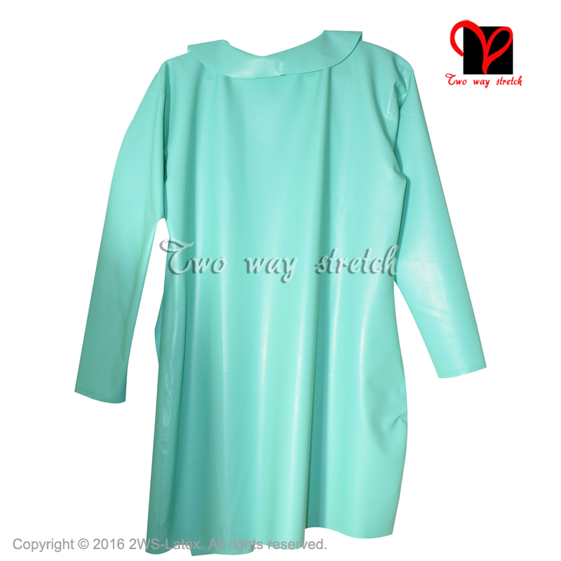 Sexy Latex Bath Robe Lace Front Rubber Dressing Gown Red Bathrobe ...