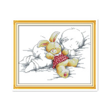 Baby and toy cross stitch suits, sleeping baby small size