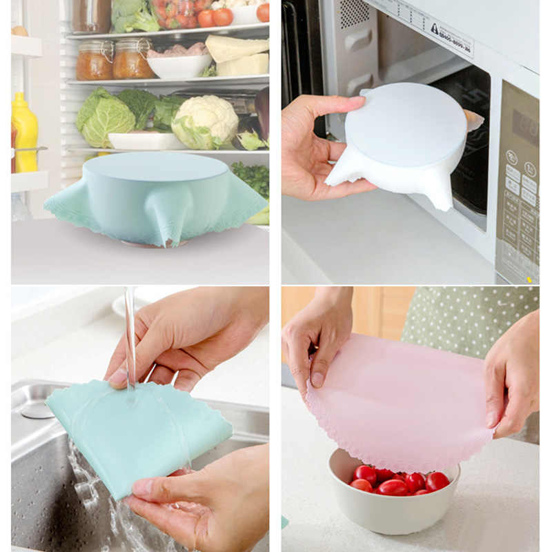 1PC Practical Multi-Functional Reusable  Silicone Storage Covers Silicone Refrigerator Food Storage Cover Saran Wrap Cling Film