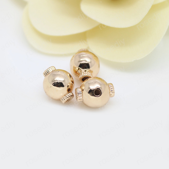6PCS 8x10MM 10x12MM 24K Champagne Gold Color Plated Brass 3 holes Spacer Beads Bracelet Beads High Quality Jewelry Accessories