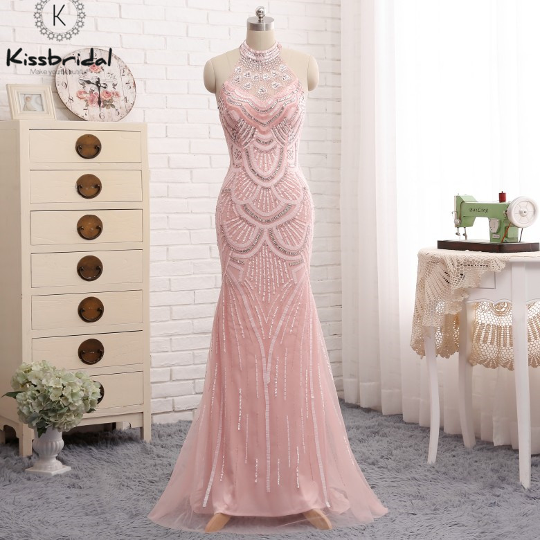 New Fashion   Prom     Dress   2018 Pink Backless Beading Halter Neck Tulle Women Party Gown vestido de festa longo