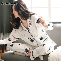 2019 summer womens pajamas sets round neck cartoon kawaii totoro cartoon sleepwear nighty female casual pajamas